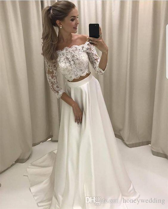 Two Pieces Wedding Dresses 2019 Fall Winter Wedding Gowns 2018 Off Shoulder Fashion Lace Bride Dress Cheap Bohemian Boho Wedding Dress