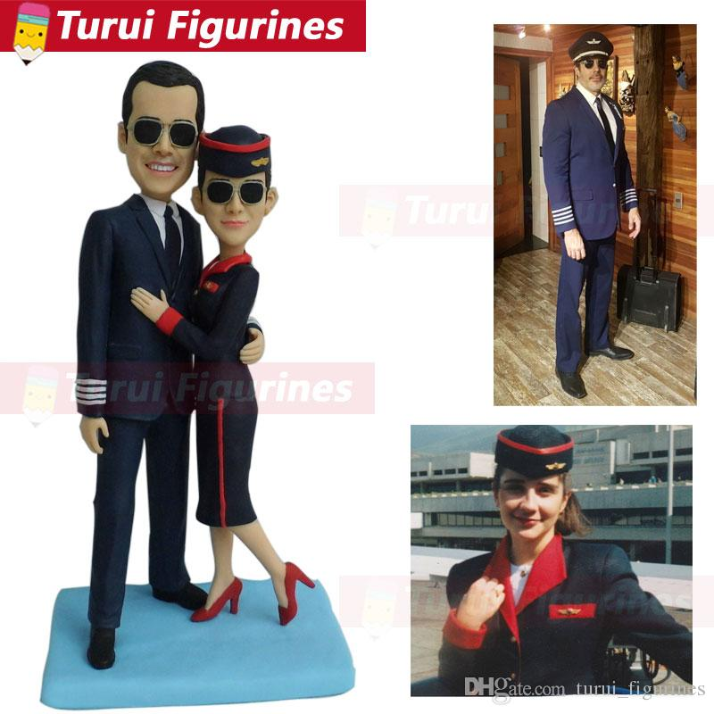 top collection pilot and stewardess couple figurine comic art dolls precious moment our hero in the sky landscape miniature
