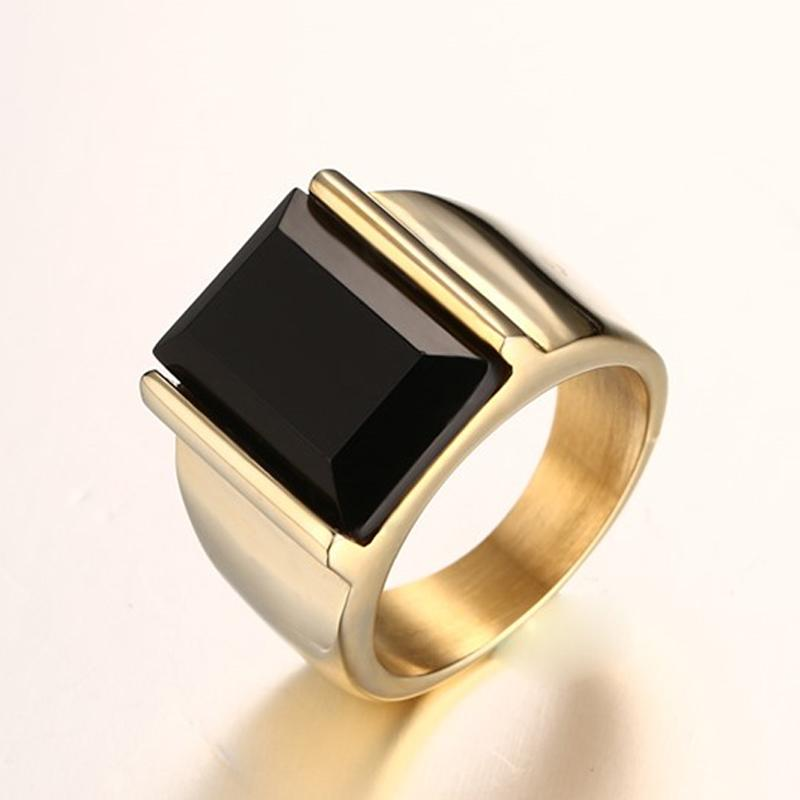 9bdfff527 Vintage Black Onyx Stone Rings Gold Color Stainless Steel Wedding ...