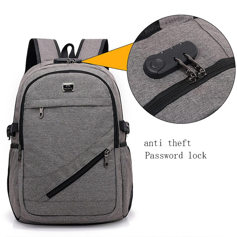Large Capacity Student School Bags for Teenage Boys USB Anti Theft Backpack Men Oxford Back Pack Women Black Gray with Lock