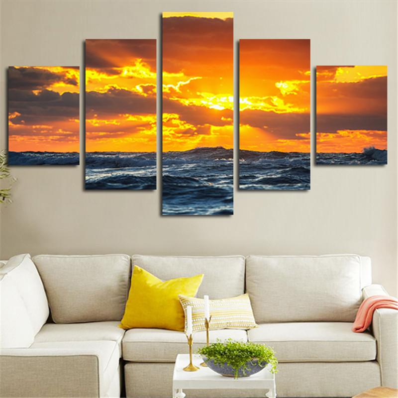 Wall Art Pictures HD Printed 5 Panel Beach Seascape Sunset Modern Painting On Canvas Home Decoration Posters Frame Living Room