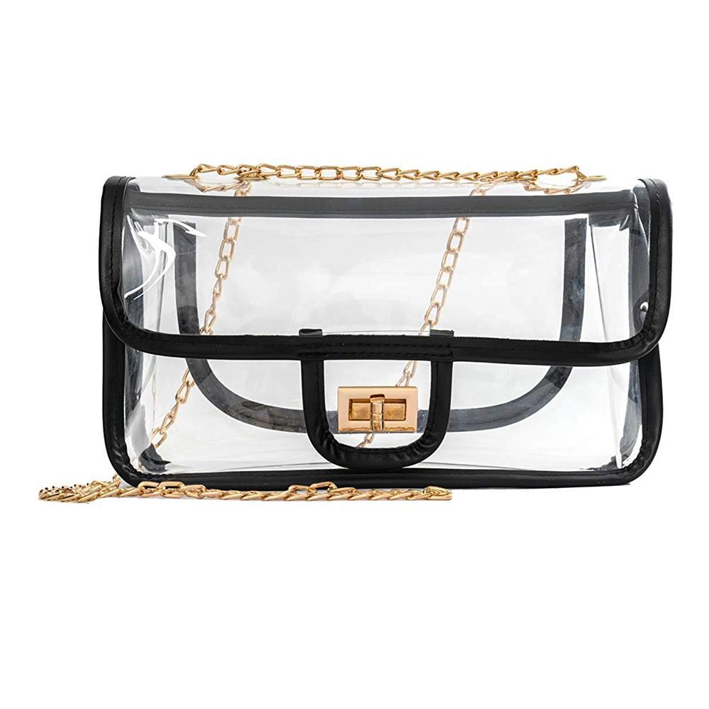 57754afb6ffb AUAU-Clear Crossbody Bag for Women The Transparent Tote Bag with Chain  Messenger Shoulder Handbag Purse