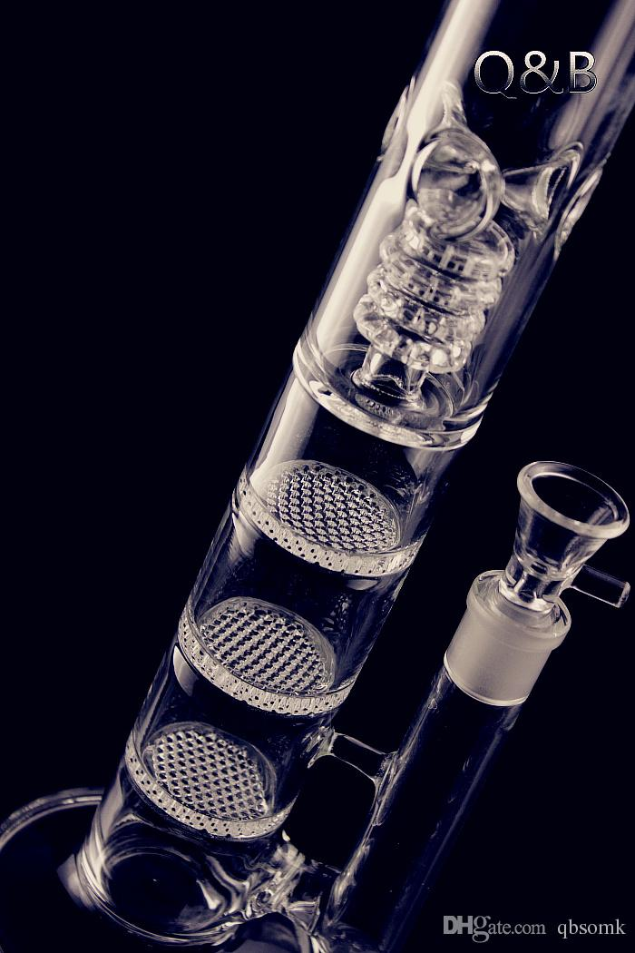 QBsomk Height Glass Bongs Triple Honeycomb Oil Rigs Birdcage Perc Dab Rig Big Straight Tube Water Pipes With 18mm Bowl