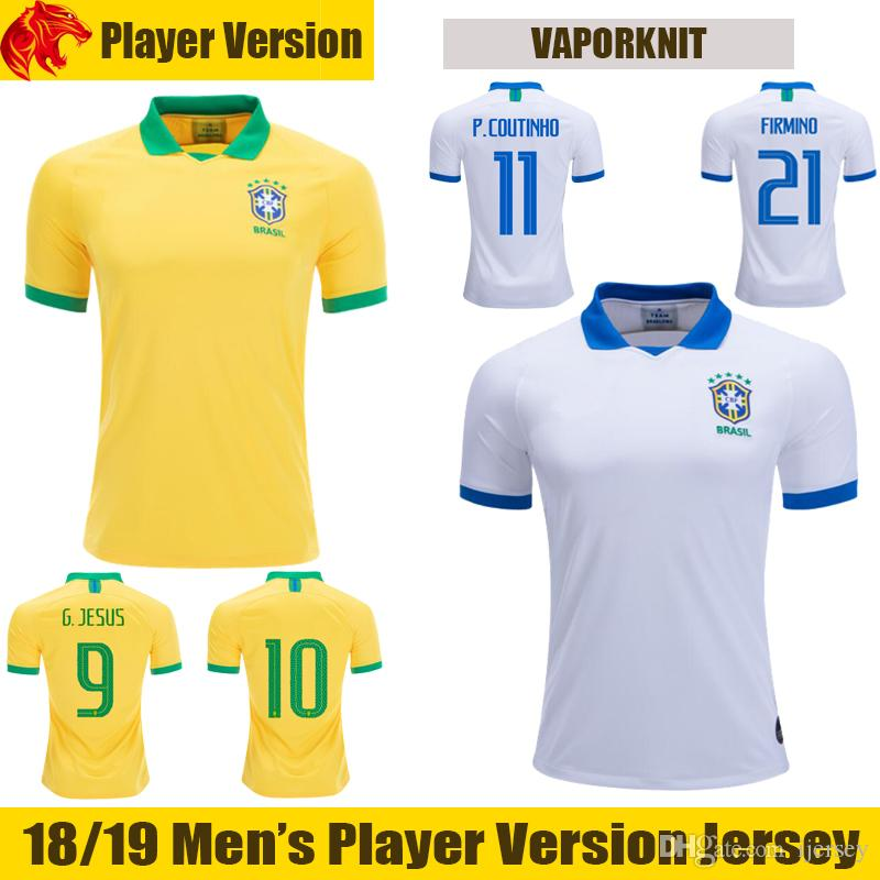 3062c1403 2019 19 20 Player Version Brazil Soccer Jerseys G.JESUS 2019 WILLIAN Brasil  COUTINHO Football Shirt MARCELO FIRMINO Camisa De Futebol From Ijersey