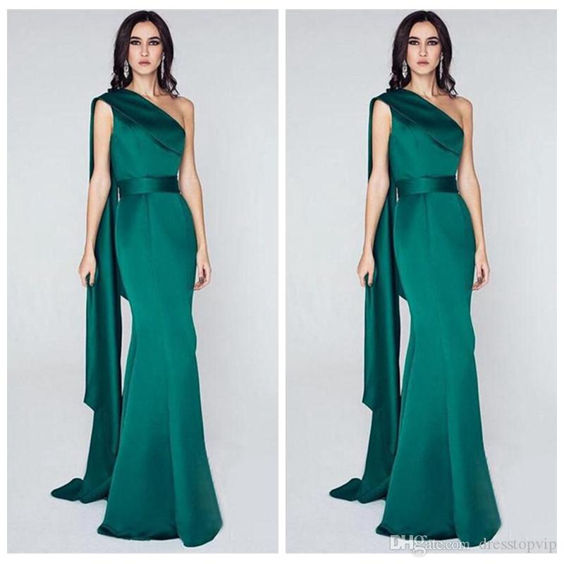 Unique One Shoulder Mermaid Evening Dresses Elegant Emerald Green Long Arabic Plus Size 2019 Celebrity Formal Party Gowns Custom Made