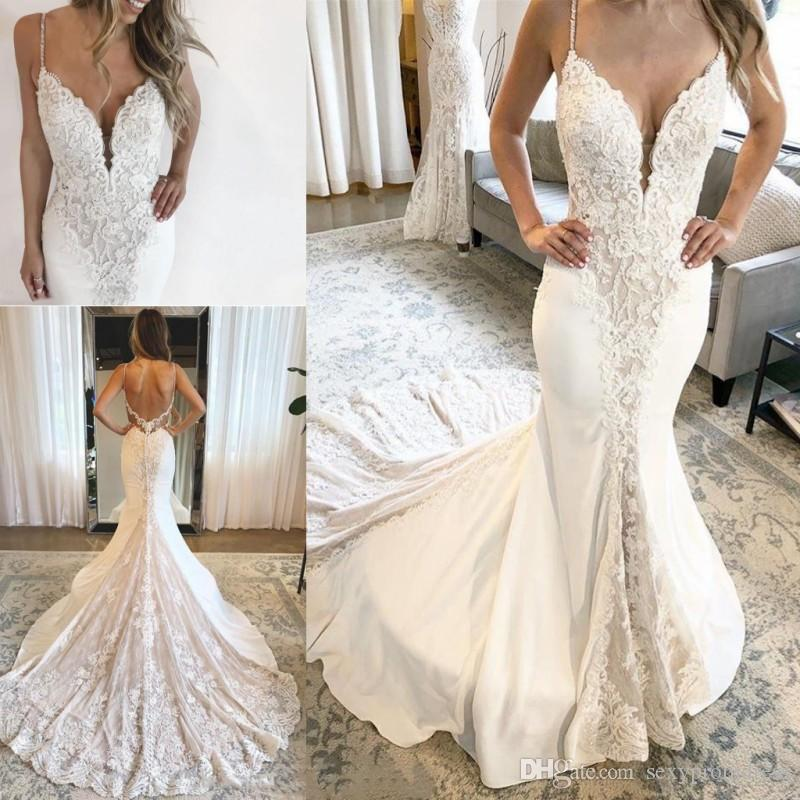 4c9d2733df270 Satın Al Retro Dantel Boncuklu Gelin Elbise 2019 Seksi Backless Spagetti  Mermaid Sahil Gelinlikler Şifon Sweep Tren Gelinlik Custom Made, $159.8 |  DHgate.