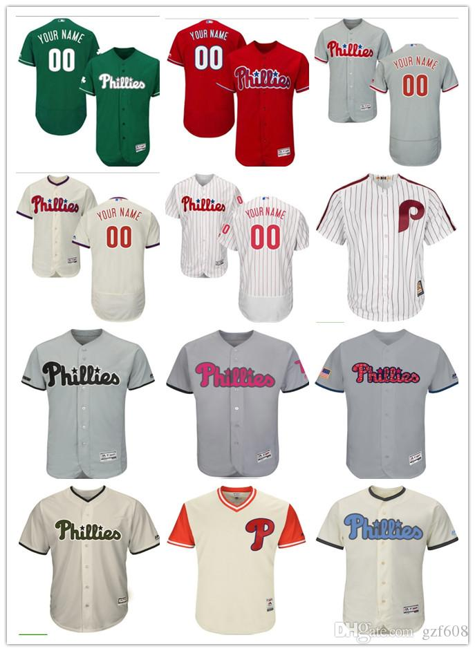 Custom Men s Women Youth Philadelphia Phillies Jersey  00 Any Your ... 2eb91325def