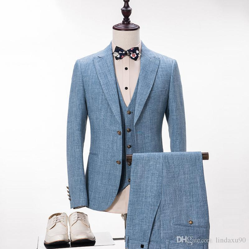 Custom Made Linen Light Blue Mens Suits For Business Peaked Lapel Wedding Tuxedos Bestmen Groomsmen Suit (Jacket+Vest+Pants)
