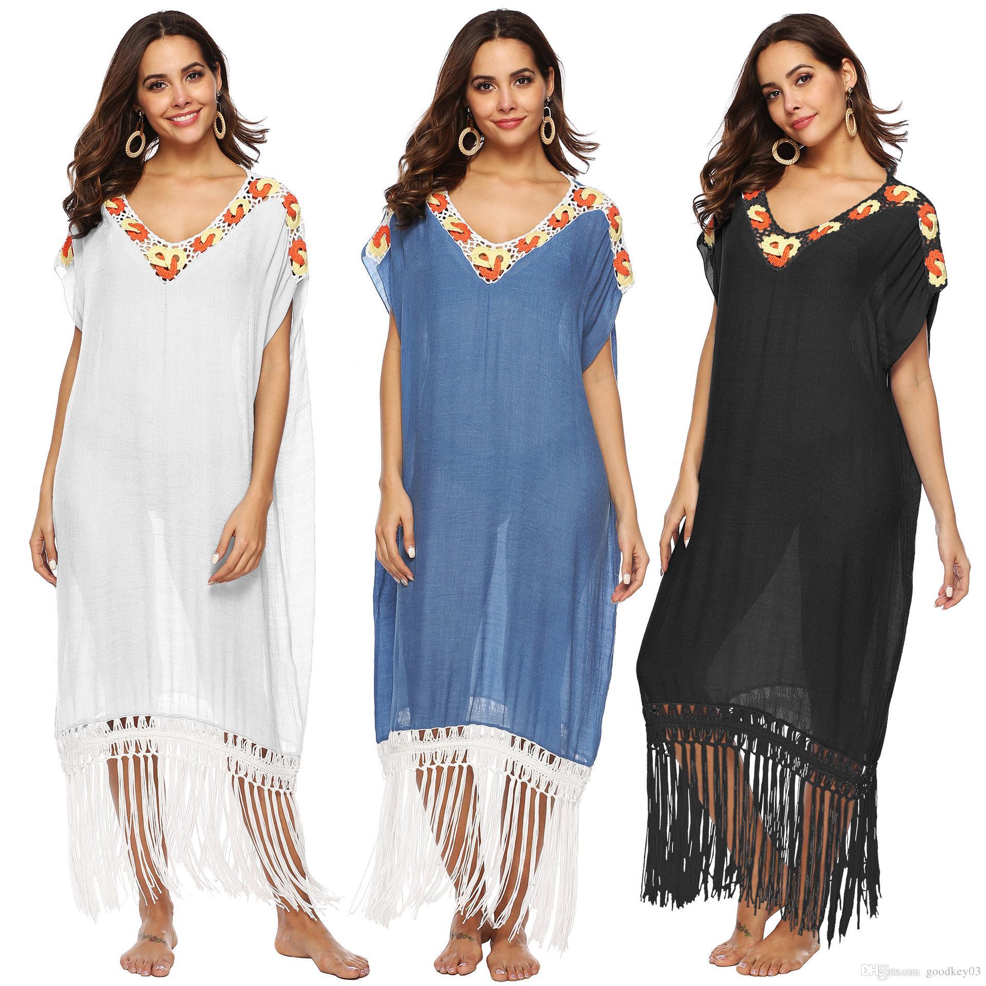 Long Beach Dress Swimsuit Plus Size Women Bikini Cover up White Bathing  Suit Swim Wear Beachwear Crochet Flower 2019