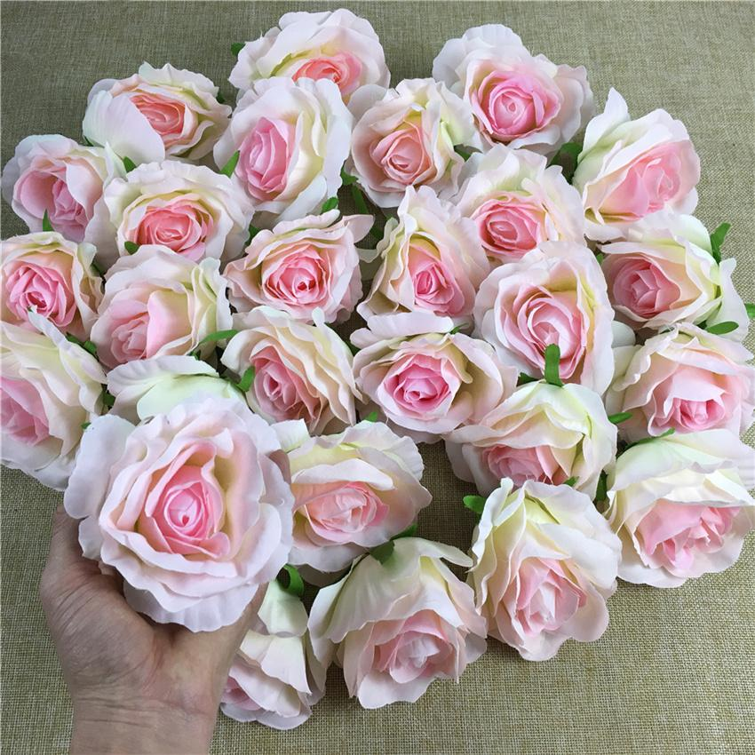 5Pcs Silk Artificial flower heads flower wall making backdrop floral DIY Craft wedding decoration Rose flores artificiales