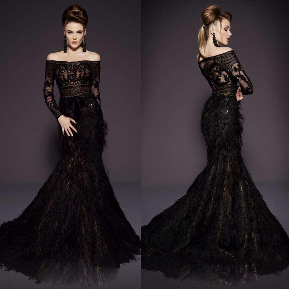 63d8ddbf083f MNM Couture Evening Dresses Major Feather Off The Shoulder Lace Appliqued  Sequin Long Sleeve Prom Dress Sweep Train Mermaid Vestido De Novia Dresses  Shop ...