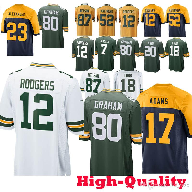 buy popular 7fed3 aa154 The new Rodgers Green Bays Packers Jersey 12 Aaron 80 Jimmy Graham 23 Jaire  Alexander 7 Brett Hundley 52 Davante Adams