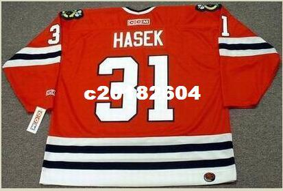 e9cd3246a Mens  31 DOMINIK HASEK Chicago Blackhawks 1992 CCM Retro Away Hockey Jersey  Or Custom Any Name Or Number Retro Jersey UK 2019 From C20182604