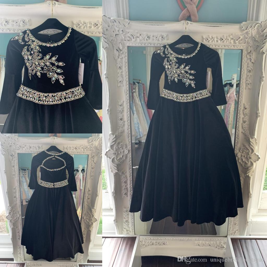 Black Velvet Pageant Dresses for Teens 2019 Bling Rhinestones Long Pageant Gowns for Little Girls Formal Party Wear Long Sleeves rosie