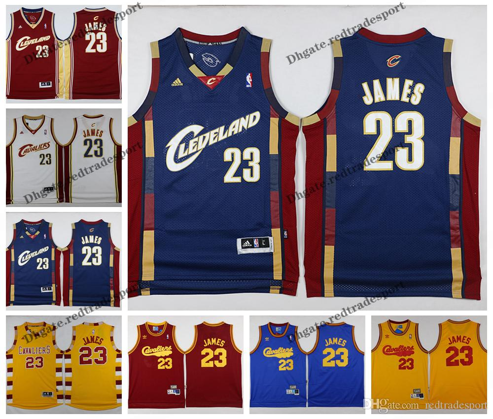 7f0b19e4e237 2019 Vintage Mens Cleveland LeBron James Cavaliers Basketball Jerseys Cheap  Blue Red White LeBron James CAVS Stitched Shirt S XXL From Redtradesport