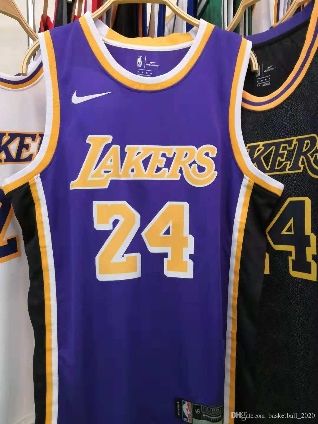 the latest 8d966 482a4 2020 New Mens Laker 24# Kobe Bryant Retro Purple Swingman Basketball Jersey  Name And Number Hot pressing printed Authentic US Size XXS-XXL