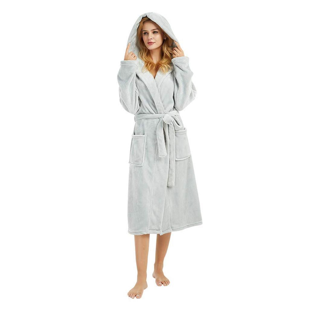 2019 Bath Robe Winter Warm Bathrobes Women Men Flannel Bath Robe