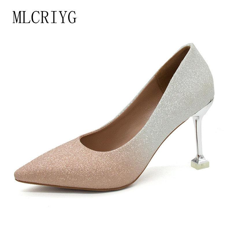 76ba0a44df7 Size 34-39 2019 New Women High Heels Pumps Autumn Elegant Shining Woman  Wedding Dress Gradient Color Sexy Bride Footwear