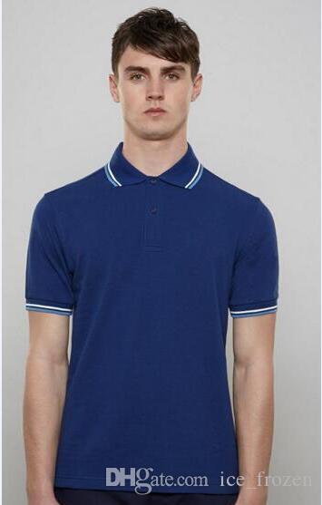 Estate Uomini manica corta Polo solido turn-over Colore Inghilterra Fashion Casual T-shirt Slim traspirante uomo d'affari britannico Polo Nero