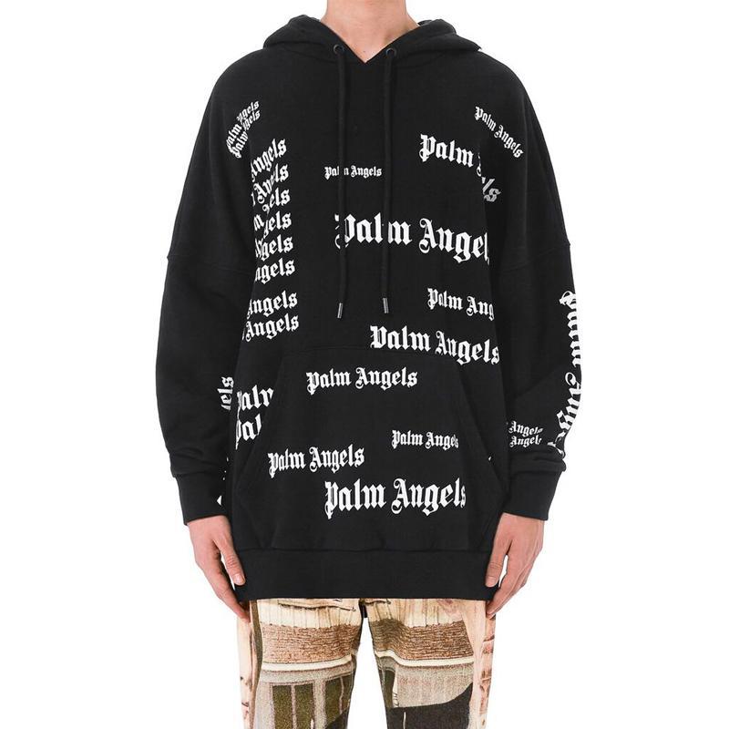 2019 Palm Angels Hoodie Men S Hip Hop Clothing Black Print Hooded Fleece Hoodie  Sweatshirt Winter Hooded Coat SHH1212 From Fashion palace 40259f3aa