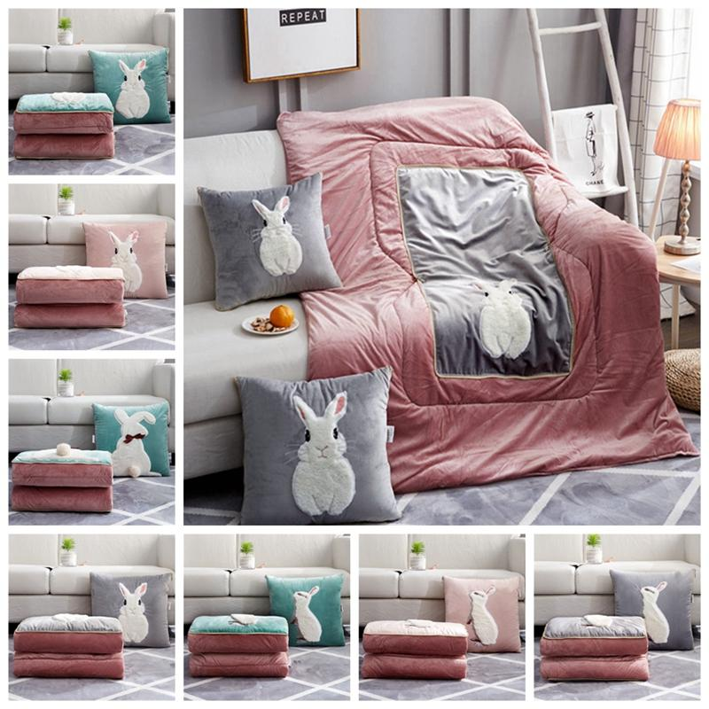 Excellent 2 In 1 Cotton Cushion Blanket Nordic Style Cute Rabbit Pillow Blanket Soft Quilt Home Children Kids Throw Pillows Back Cushions Beatyapartments Chair Design Images Beatyapartmentscom