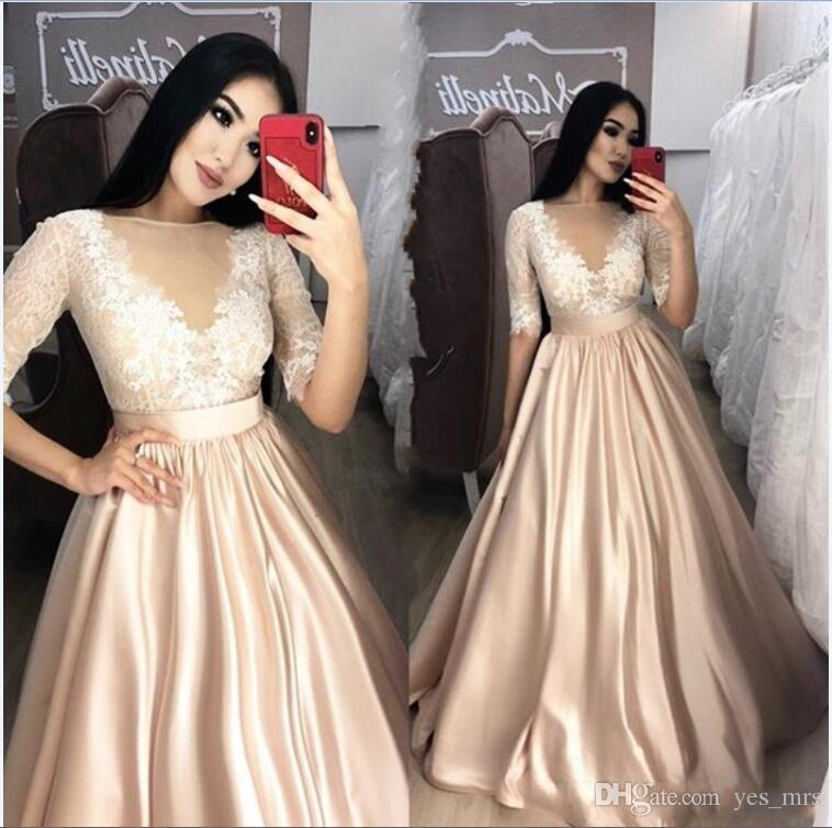 c511e63c701 New Sexy 2019 Champagne Prom Dresses Sheer Neck 1 2 Sleeve Lace Appliques A  Line Floor Length Evening Dress Party Pageant Formal Gowns Dresses Prom  Dresses ...