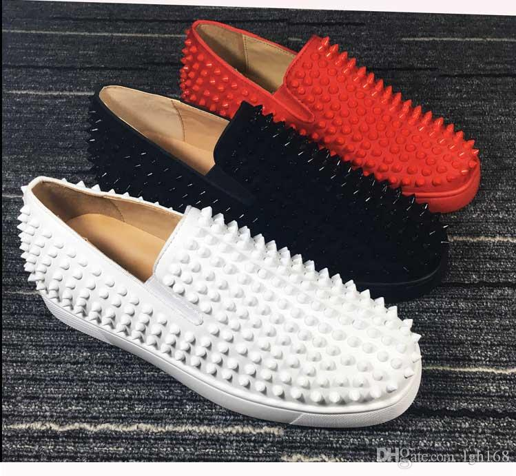 promo code fb0a2 ccf3a 2019 new fashion red bottom men sneakers spikes casual shoes for men and  women low top sneakers with red bottom,genuine leather 36-47