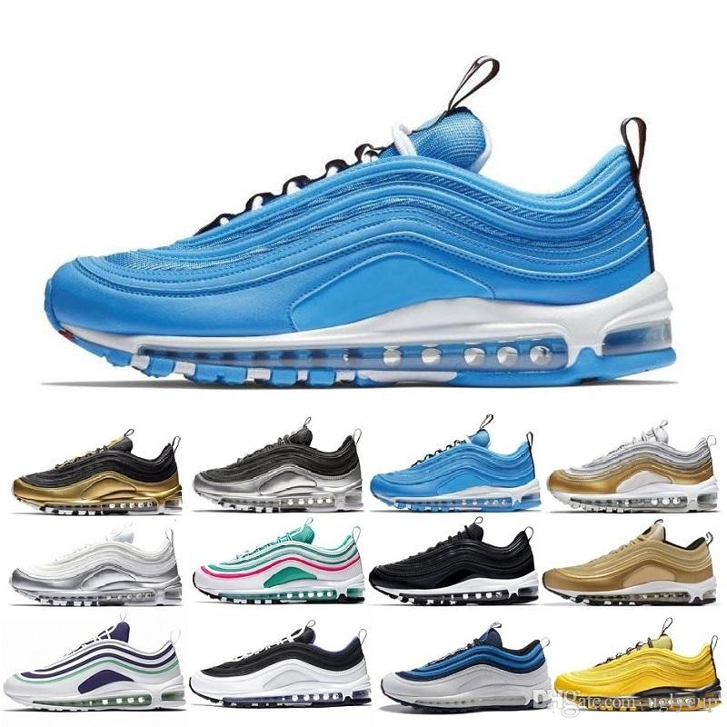 Nike Air Max Airmax Shoes 97 Zapatos South Beach Premium Silver Bullet 97s  Triple Blanco Balck Metallic Pink Yellow Para Mujer Zapatos Para Correr ... 50f04445d94