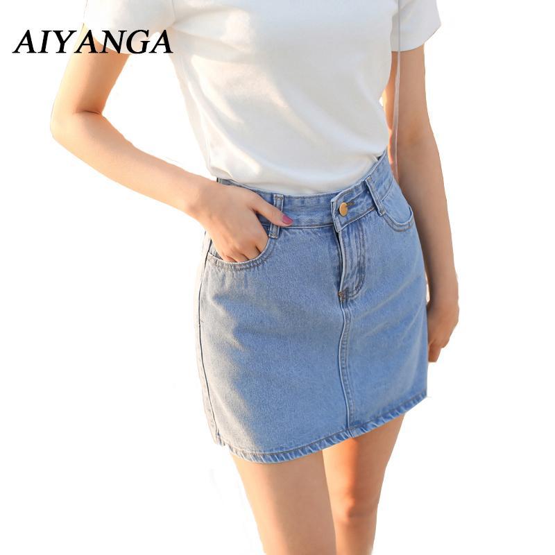 c7c9ebbd3 Nuevas Mujeres Faldas de Mezclilla de Verano 2018 Moda Falda de Cintura  Alta Mini Jeans Falda Mujer Clásico Oscuro / azul claro Faldas Sexy Bottoms  ...