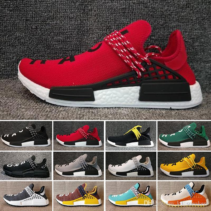 huge selection of 356aa a491c Compre Adidas PW HUMAN RACE NMD Run Trail X Pharrell Williams Nerd Hombres  Raza Humana Zapatos Casuales Negro Blanco Crema SOLAR PACK Zapatillas De  Deporte ...
