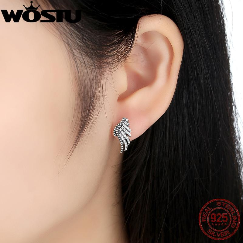 Hot Sale 925 Sterling Silver Majestic Feathers Stud Earrings For Women Authentic Original Brand Fine Jewelry