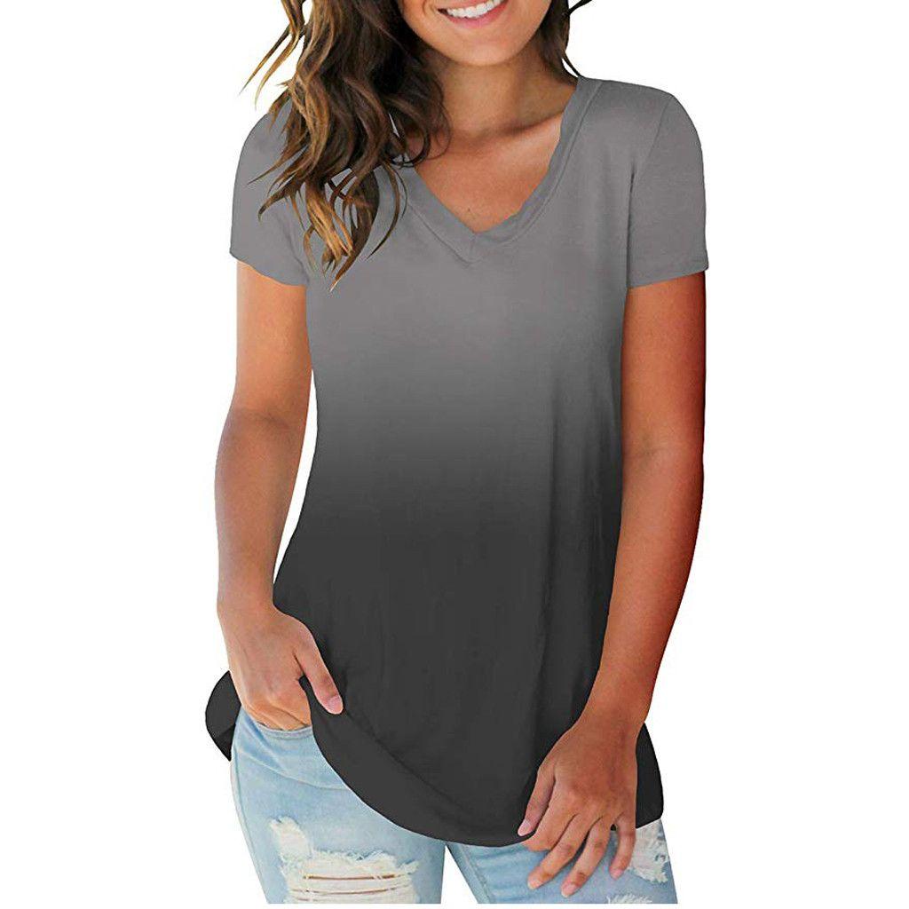 470b3f0cd48e Tallas grandes Blusas para mujer Color degradado Camisa de manga corta con  cuello en v Tops Blusa Ropa de verano blusas mujer de moda 2019