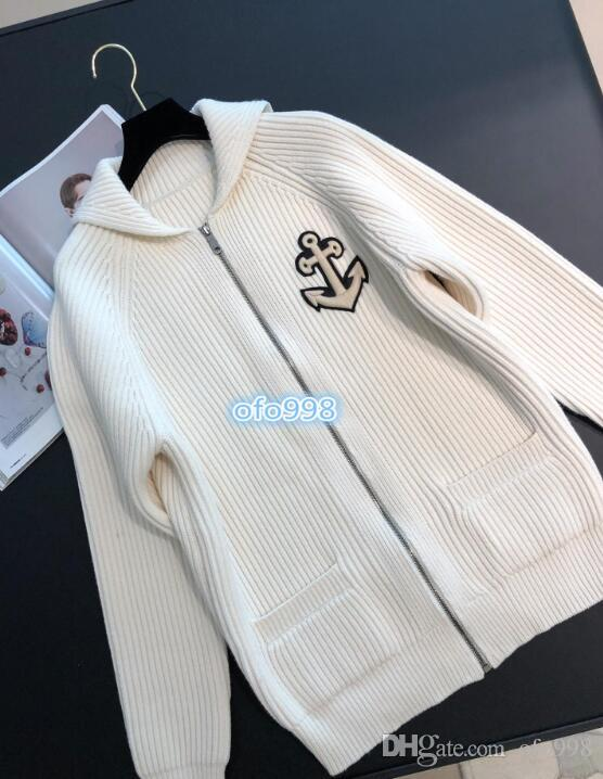 Women girls Knit cardigan Hooded neck letter with Geometric patterns embroidery Coat Female Women Sweater Long Sleeve coat