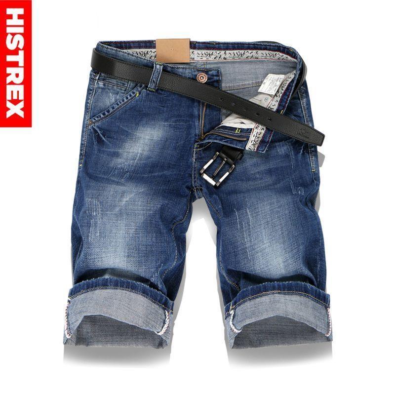 422bc004ee 2019 Histrex Large Men Hole Denim Shorts Male Summer Casual Blue ...