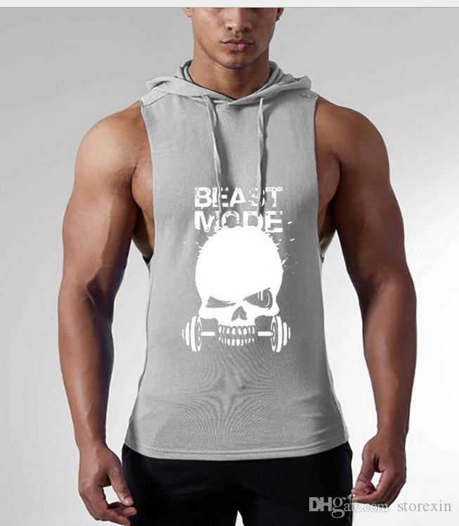 new2019 Fitness exercise gym vest new Skulls Print Sleeveless Tank Tops Vest Casual Male Loose Pockets Singlet Shirts 3XL Undershirt
