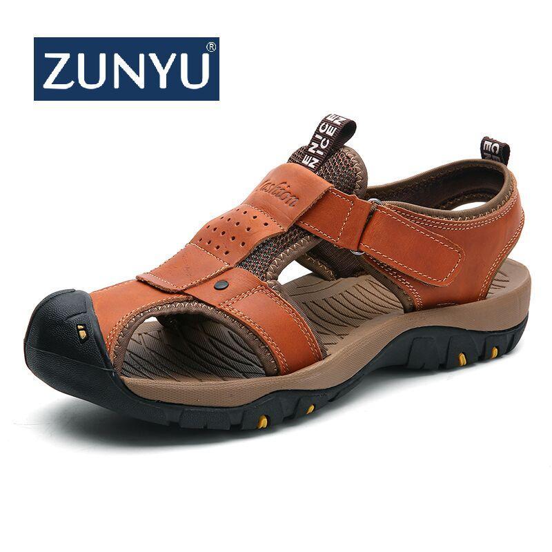 Véritable Homme Cuir Plage Casual Taille En Style Marque Été Chaussures De D Romain Sandales Nouveau Hommes Zunyu Grande 0vNO8nmw