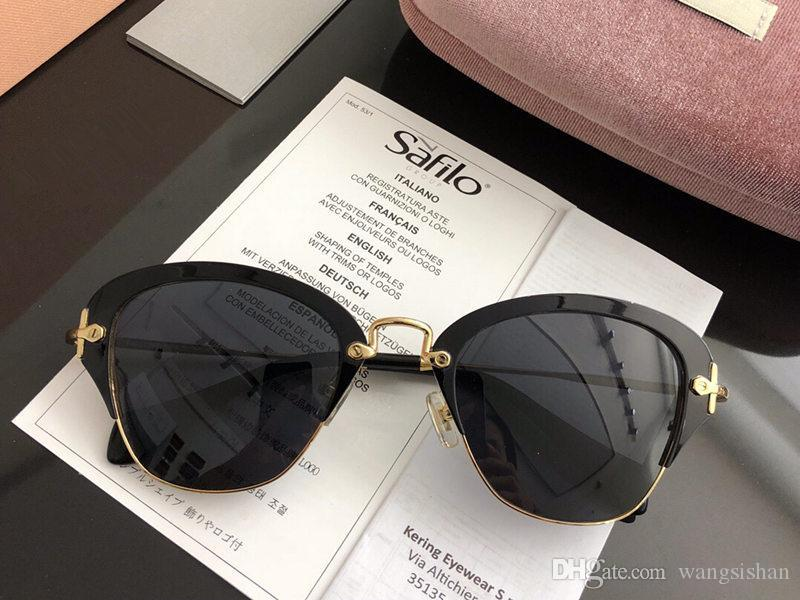 45a5f09e049 Luxury Sunglasses Womens Designer 530V Half Frame Plate Metal ...