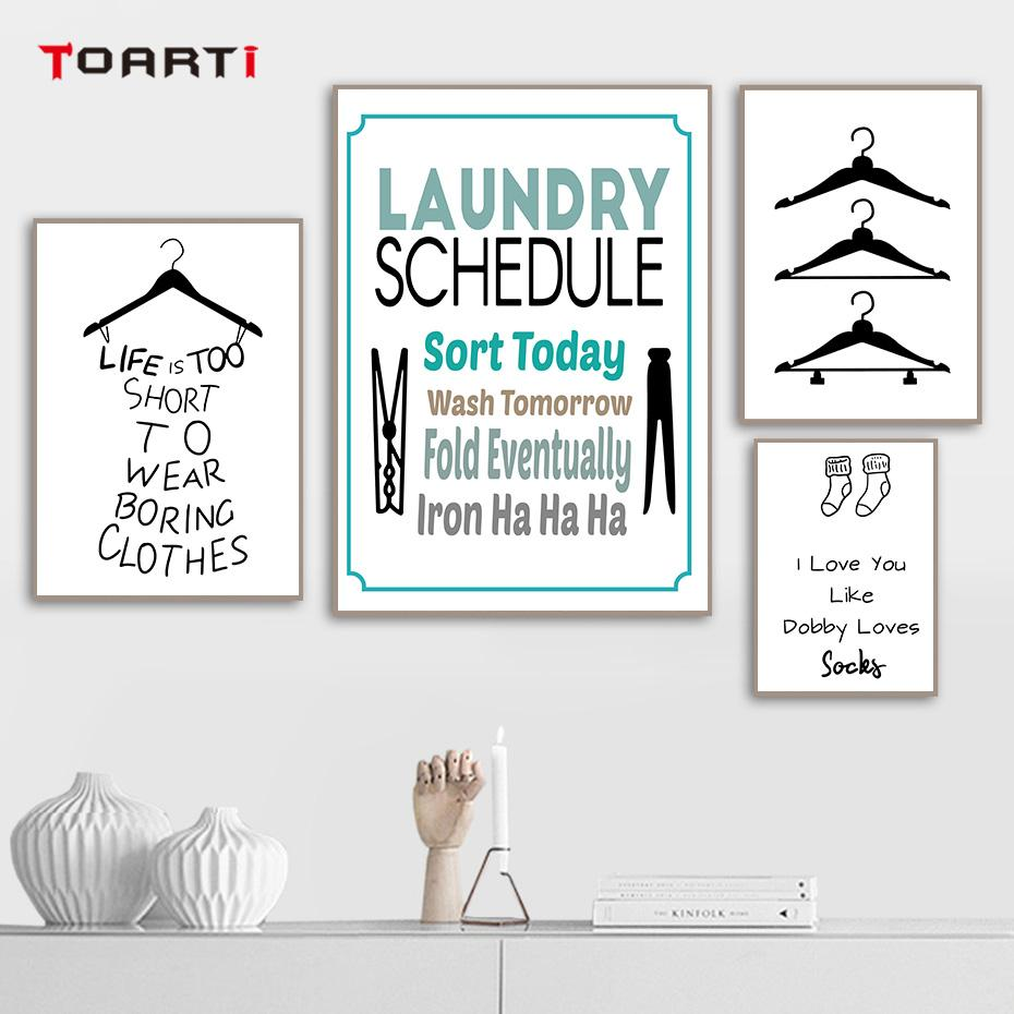 Modern Clothespin Hangers Socks Quotes Posters Prints Funny Canvas Painting On The Wall Art Pictures For Laundry Room Home Deco