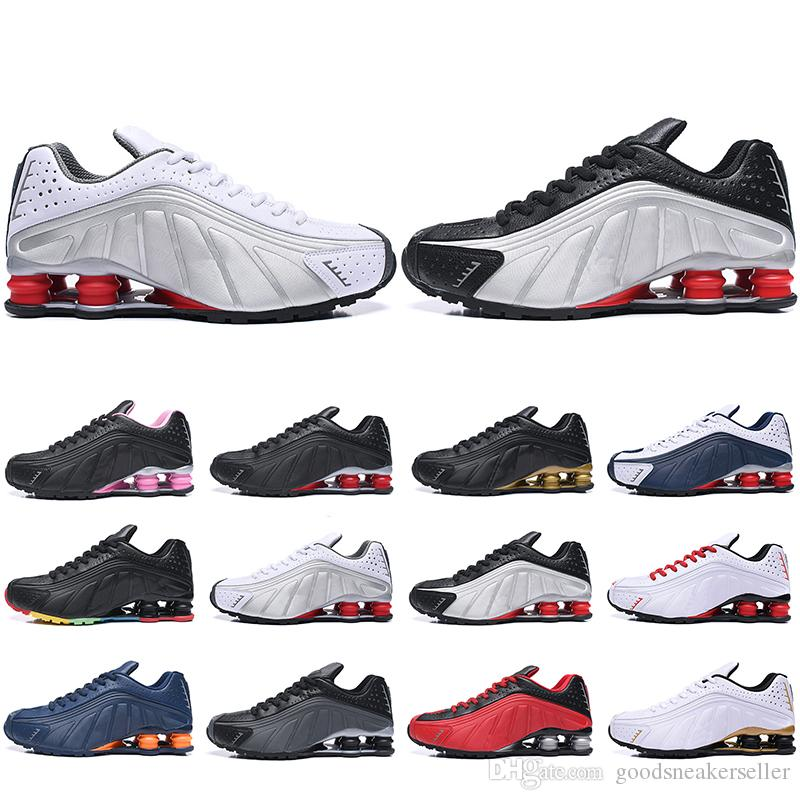on sale 73df4 74908 2019 2019 New Shox R4 Running Shoes For Men Women Zapatillas Hombre  Breathable Leather Mens Trainers Designer Athletic Sneakers Size 36 46 From  ...