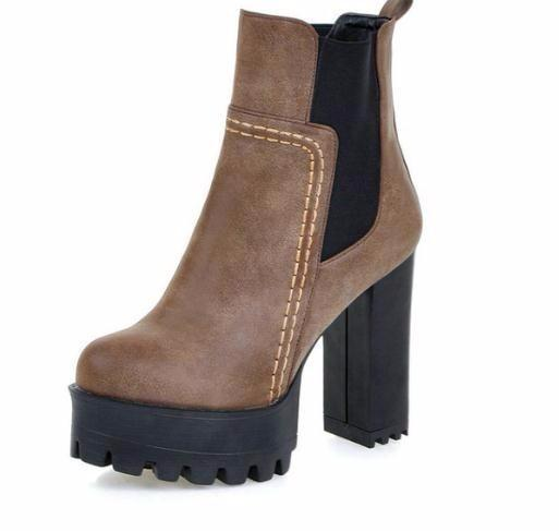 0f1e3cd0453 2019 Chunky High Heel Shoes Women Western Style Elastic Band Ankle Boots  Round Toe Platform Ladies Fashion Boots Size 34-43