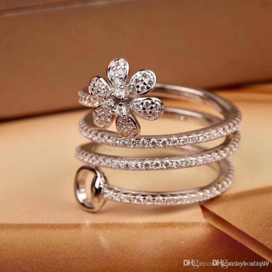 Nlm99 S925 pure silver Engagement new Trendy ring with large diamonds flower design women opend punk wedding Rings brand name jewelry PS5527