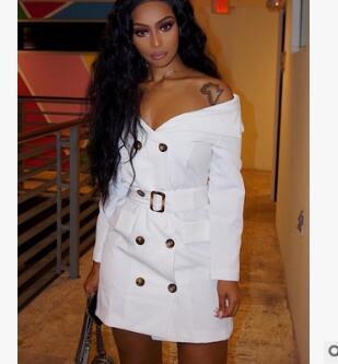 aacce01c5ee Compre Simplee Sexy Fuera Del Hombro Camisa De Vestir De Verano Tie Up  Button Mujer Vestido Casual Streetwear OL Vestido Corto Blanco Vestidos  2019 A  20.16 ...