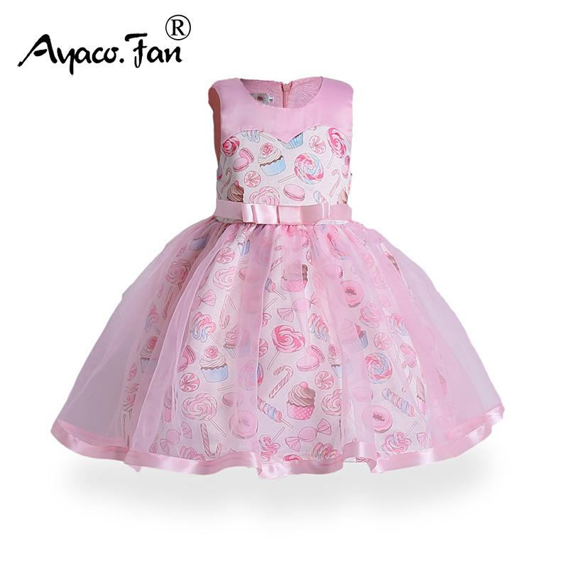 330ac60a9bf12 Kids Dress 2019 Summer Mesh Sleeveless Bow Sundress Cute Candy Ice Cream  Baby Girls Ball Gown Dresses Children Clothes Christmas J190520