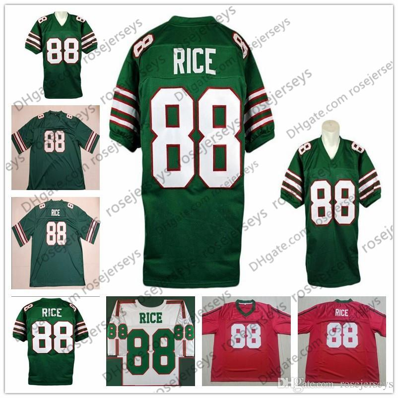 reputable site 93b82 5eabd Mississippi Valley State Delta Devils #88 Jerry Rice Vintage Jersey 1984  NCAA Retro Green White Red 80 College Football Men Youth Kid Women