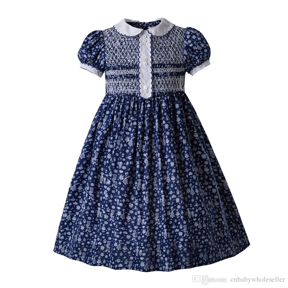 7b4bf9b0848 Pettigirl Single Breasted Doll Collar Smocked Baby Girl Clothes Bubble  Romper Thanksgiving Smocked Dress Boutique Kids Clothes G DMGD006 B44 Kids  Girls ...