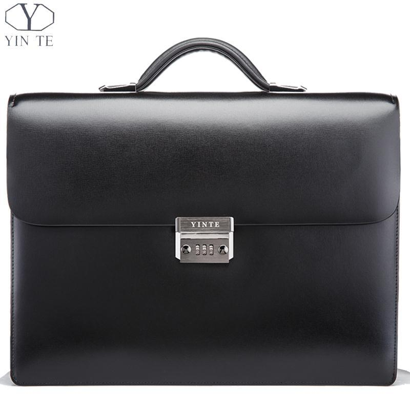 57f479ccc3cb YINTE Men S Leather Briefcase Business Leather Lawyer Briefcase Messenger  Shoulder Attache Case Men S Bag Portfolio T8146 11 Leather Satchel Laptop  Bags For ...