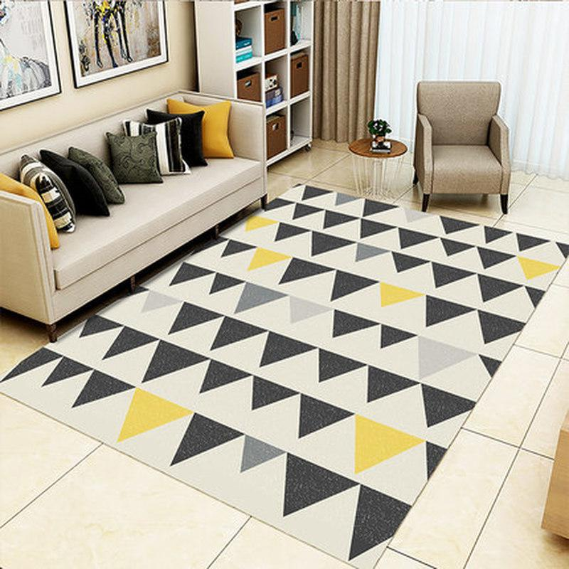 High Quality Simple Geometric Patterns Carpet Pad Strong Elastic Anti-slip Short Cashmere Rugs Parlor Bedroom Hotel Floor Mat