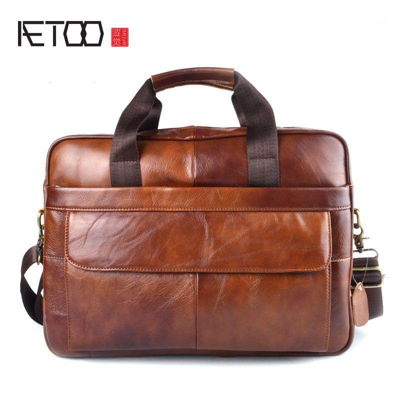 a4e75bd6bd75 Briefcases Men Handbag Genuine Leather men bag Business bags Vintage  Leather Briefcases Messenger Laptop Bag