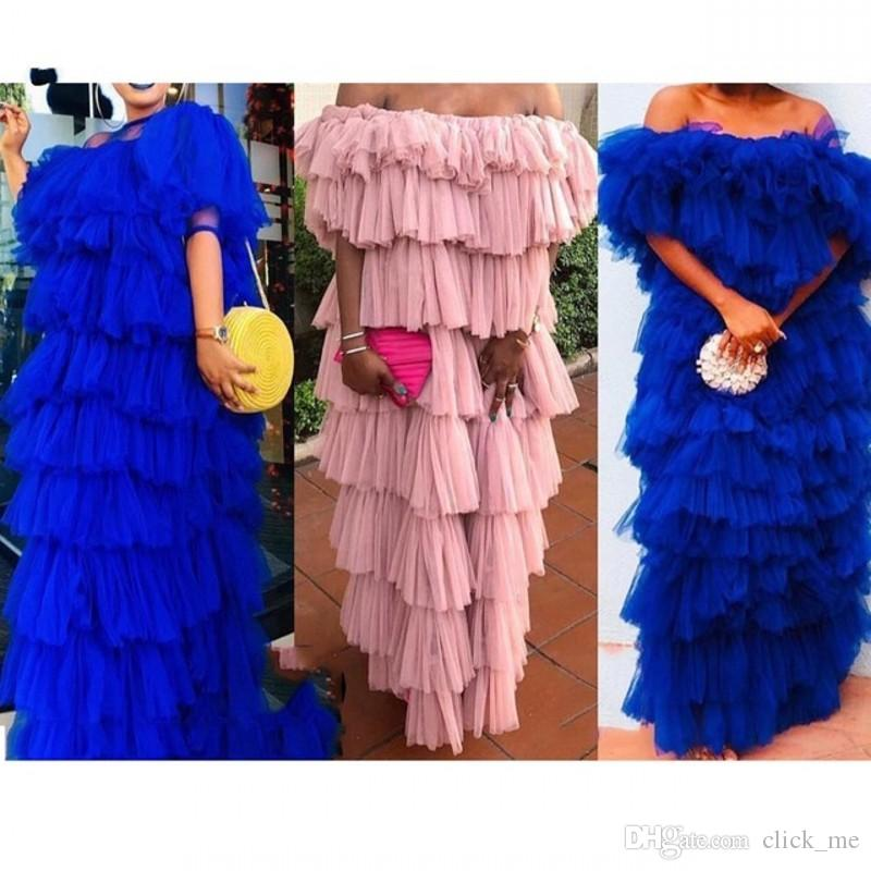 Ruffles Tiered Tulle Prom Dresses Royal Blue High Street Plus Size Evening Gowns Off The Shoulder Robe De Soiree Women Party Dress