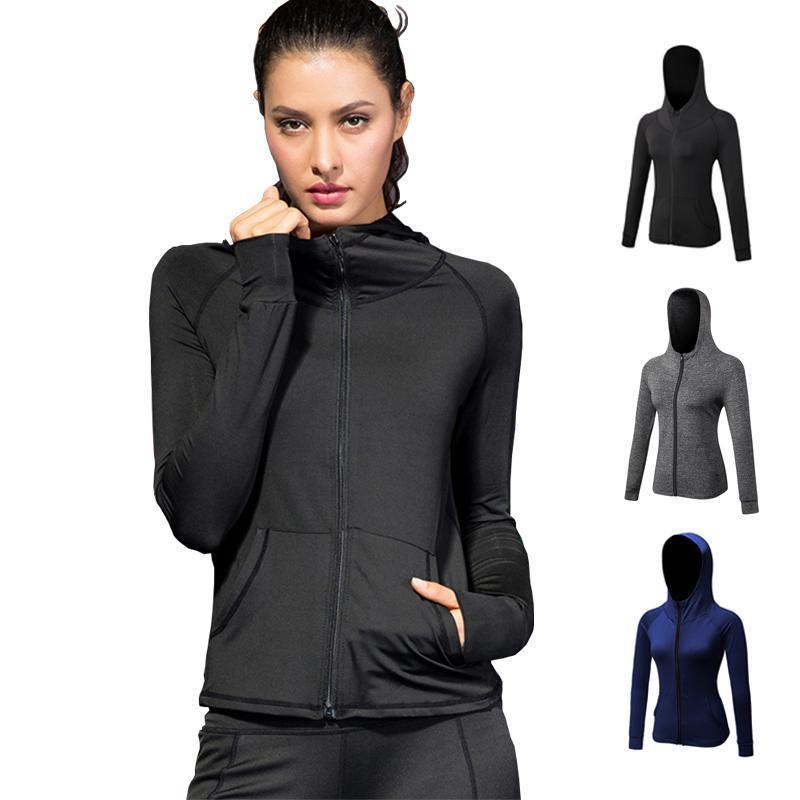 Acheter Nouveau Running Veste Pour Les Femmes Fitness Jogging Sweat Dames  Yoga Zipper À Manches Longues Femmes Respirant Formation Sport Manteaux De   28.59 ... 9fa4209dbea